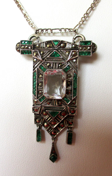 Art-Deco Sterling Silver & Paste Necklace