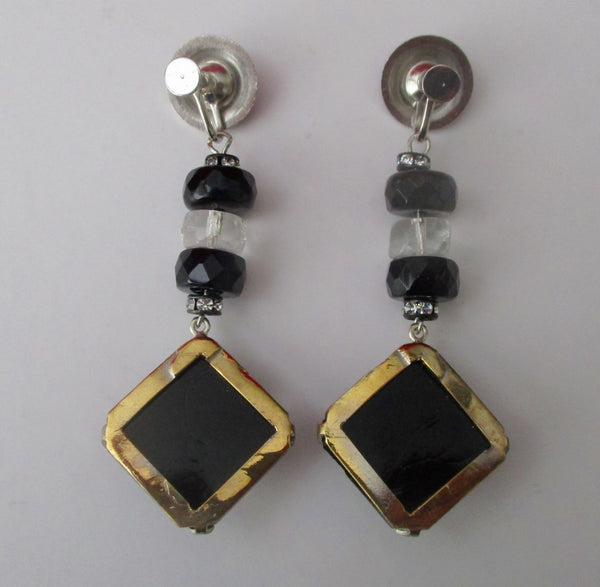 Pair of Vintage Art-Deco 3-inch Screw-Back Earrings With Paste & French Jet