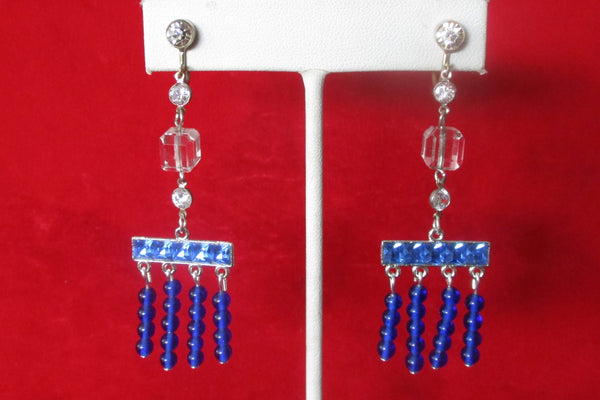 Pair of Vintage Art-Deco Blue & Clear Paste Screw-Back Earrings