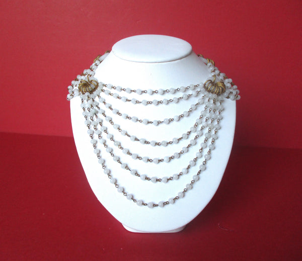 Vintage White Milk Glass Choker/Necklace With Earrings