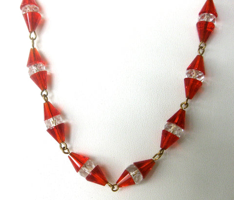 26-Inch Art-Deco Cone/Rondelle Crystal Bead Necklace