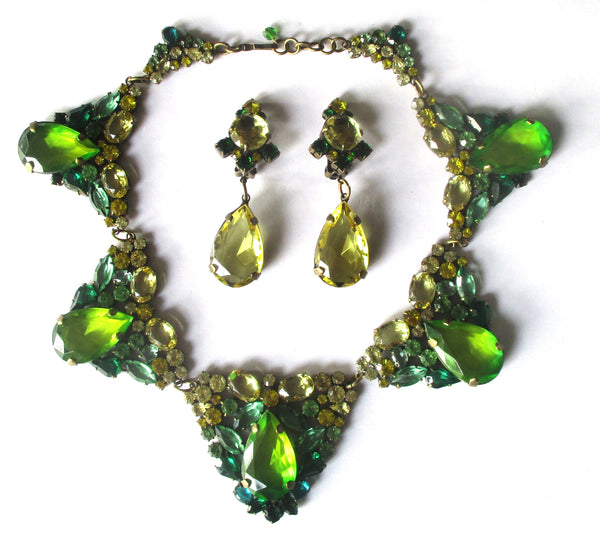 Vintage J.Max Costume Jewelry Set - Necklace With Matching  Clip- On Earrings