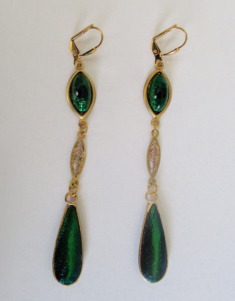 Pair of Vintage 3 3/4 Inch Peacock Eye Cabochon  Boho/Hippie Earrings