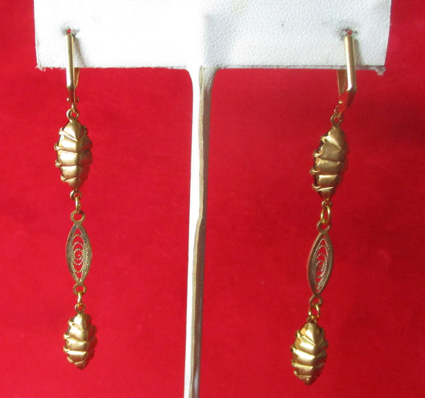 Pair of Georgian Back -to- Front  Day/Nite Earrings