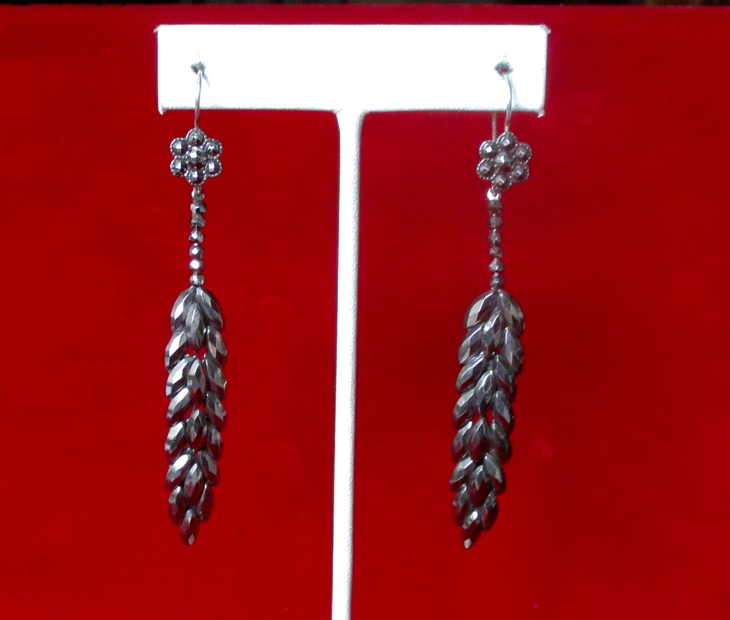 Antique Pair of French Cut-Steel Earrings