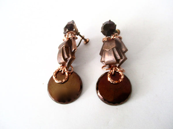 Pair of Vintage Deco Screw-Back Earrings