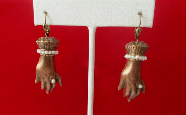 Pair of Victorian Hand  Style Wedding Earrings in Brass With Seed Pearls