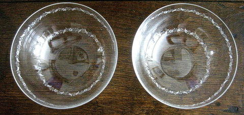 Pair of Antique Hand-Etched Thin Glass Bowls