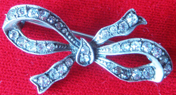 "Antique Sterling Silver & Paste ""Bow"" Pin"