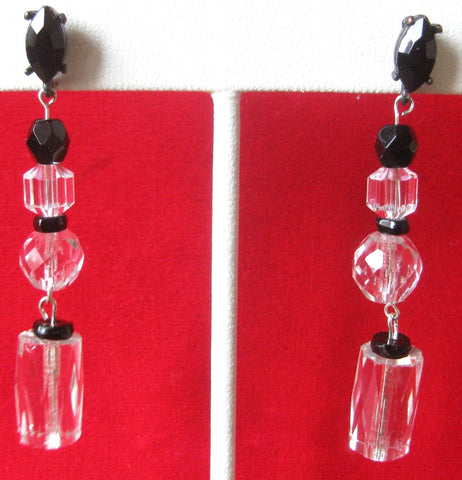 Pair of Vintage French Jet & Czech Crystal Earrings