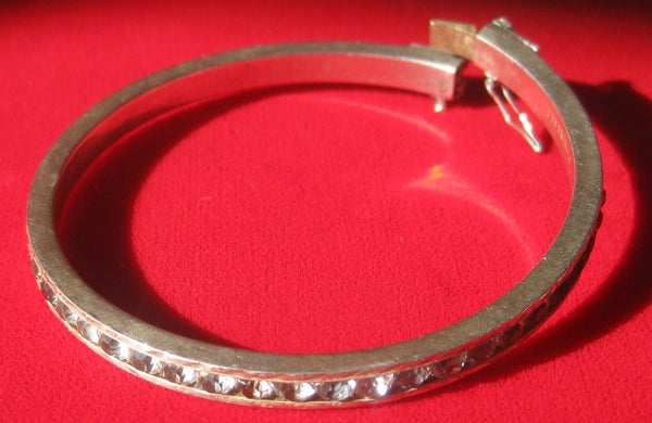 Deco Sterling Silver & Paste Bangle Bracelet