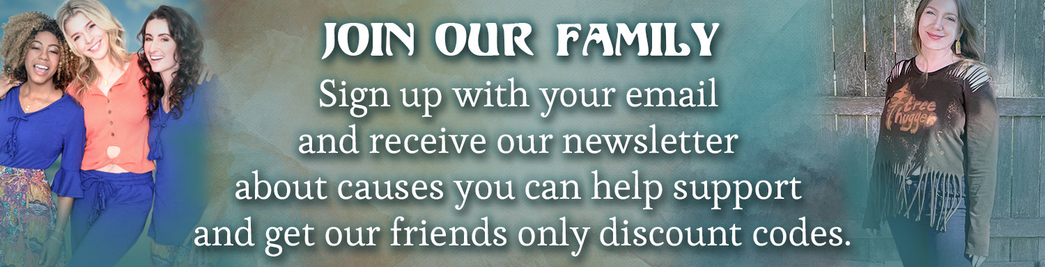 Join our family and receive our special discount codes on ethical sustainable woman's clothing