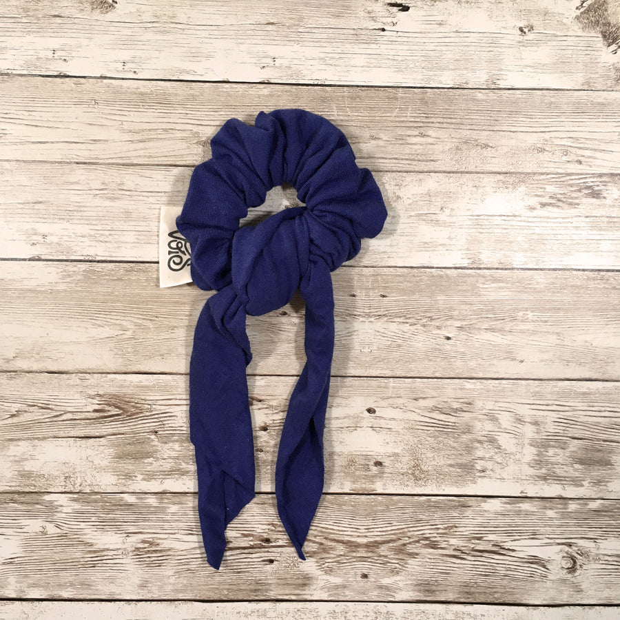 Zero-Waste Scrunchie with Tie in Ocean Blue