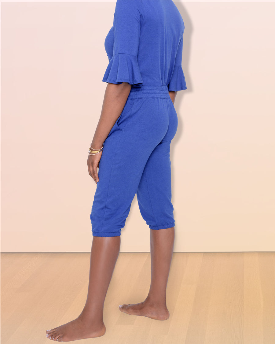 shopvois.com Sustainable Ethical Clothing Fancy Sweat Pants in Ocean Blue Side