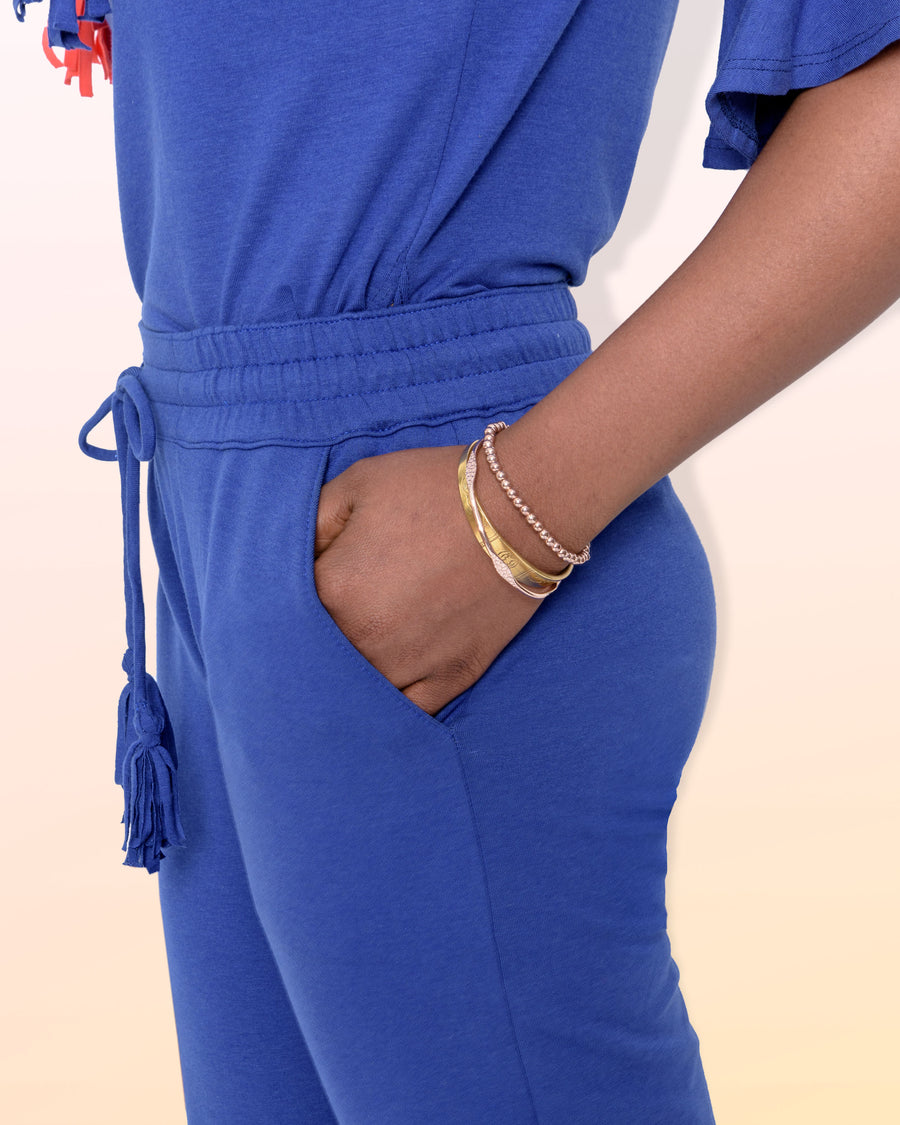 shopvois.com Sustainable Ethical Clothing Fancy Sweat Pants in Ocean Blue Pockets