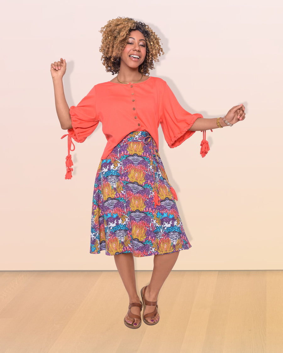 shopvois.com Sustainable Ethical Clothing Wrap Skirt in Coral Reef Print Model