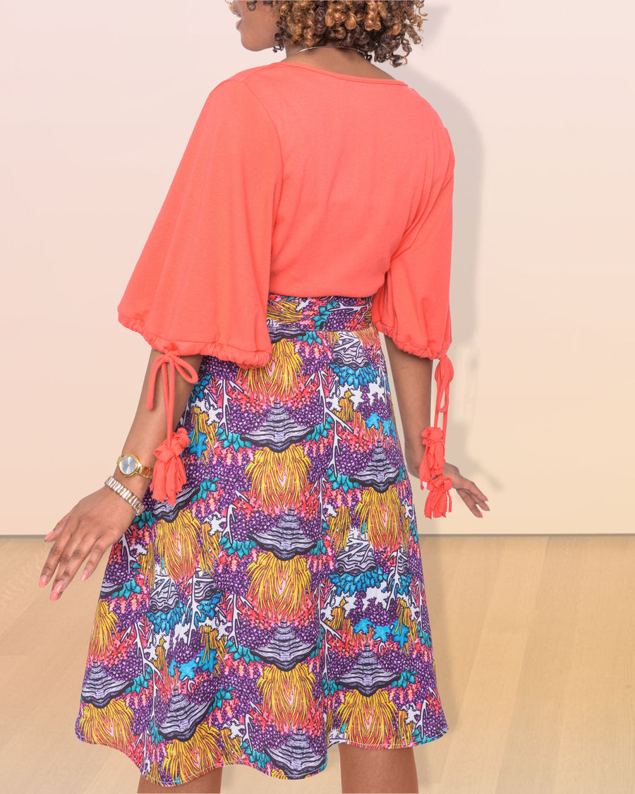 shopvois.com Sustainable Ethical Clothing Wrap Skirt in Coral Reef Print Back