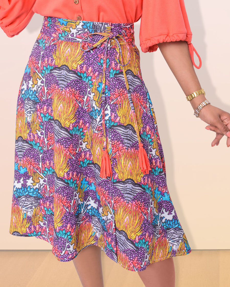 shopvois.com Sustainable Ethical Clothing Wrap Skirt in Coral Reef Print Front