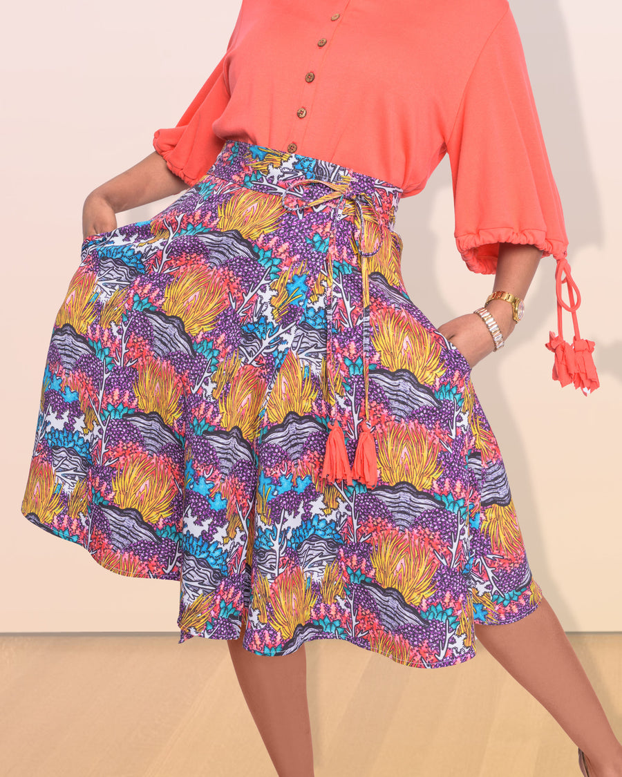 shopvois.com Sustainable Ethical Clothing Wrap Skirt in Coral Reef Print Flared Bottom