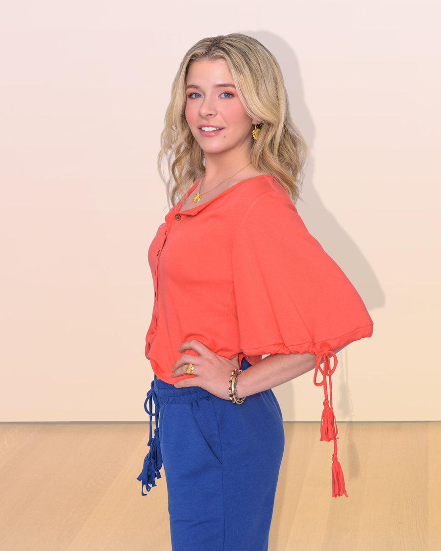 shopvois.com Sustainable Ethical Clothing Twist Knot Top in Coral Side