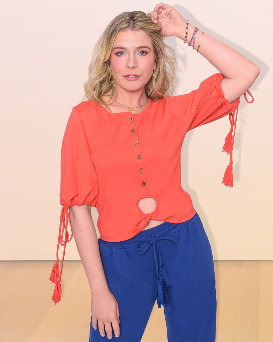 shopvois.com Sustainable Ethical Clothing Twist Knot Top in Coral Front