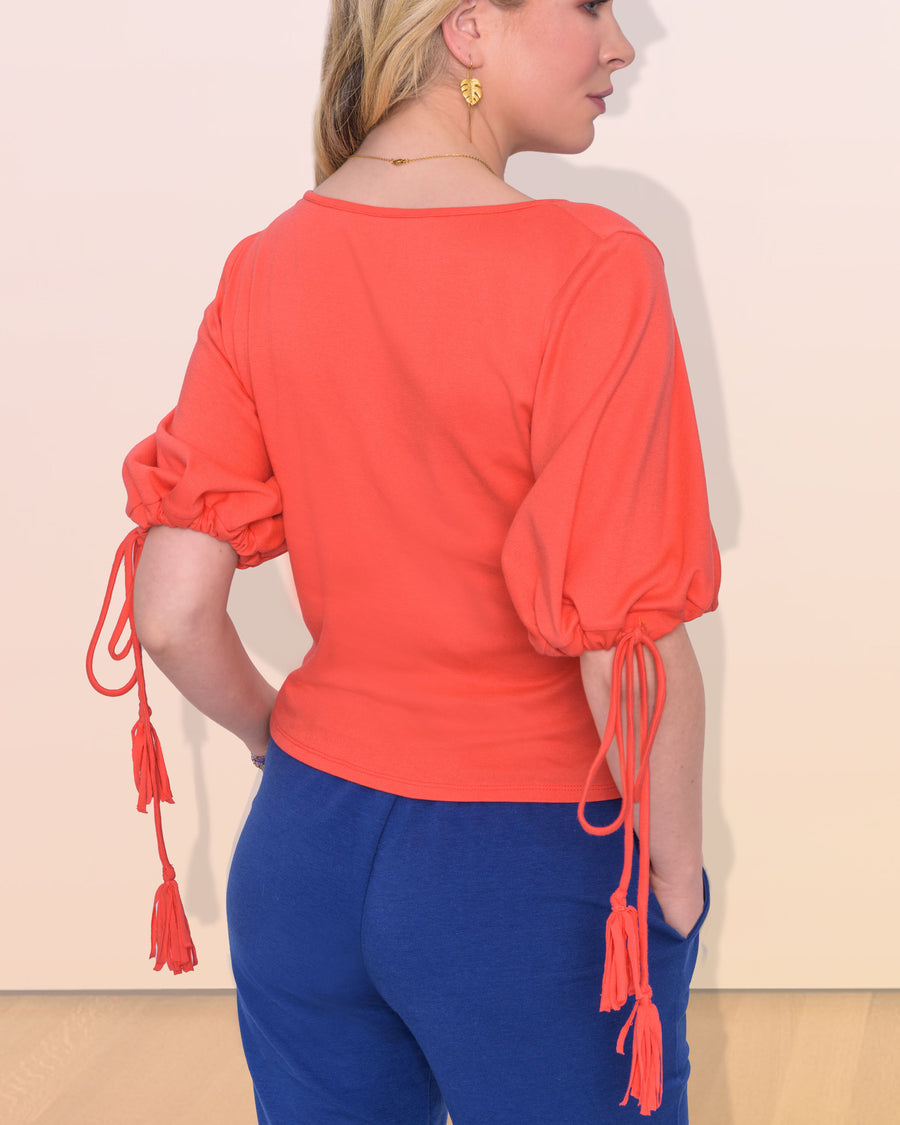 shopvois.com Sustainable Ethical Clothing Twist Knot Top in Coral Back