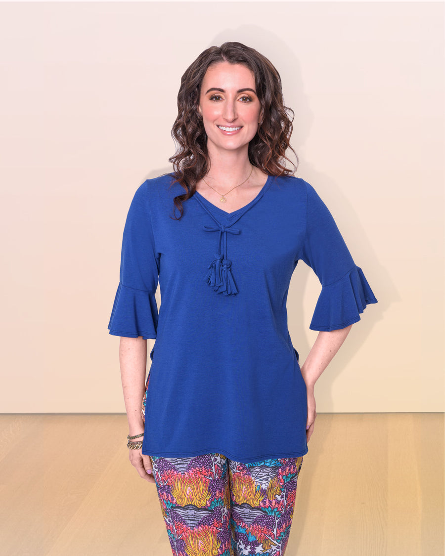 shopvois.com Sustainable Ethical Clothing Tunic Top in Ocean Blue Model