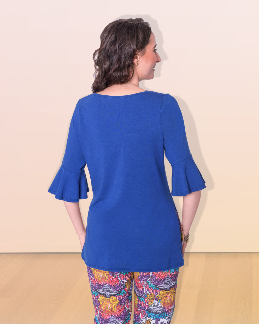 shopvois.com Sustainable Ethical Clothing Tunic Top in Ocean Blue Back