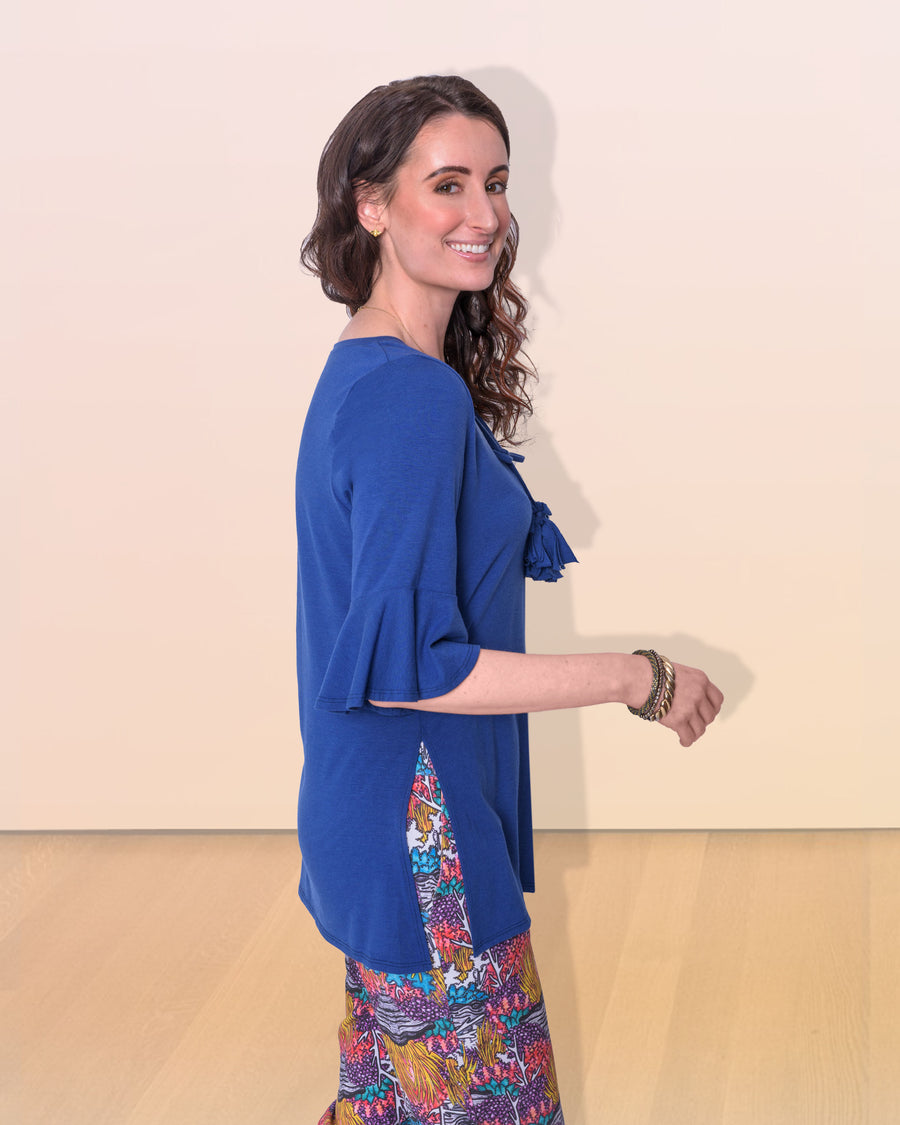 shopvois.com Sustainable Ethical Clothing Tunic Top in Ocean Blue Side