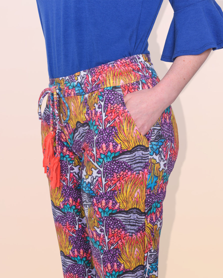 shopvois.com Sustainable Ethical Clothing Fancy Sweat Pants in Coral Reef Print Pockets