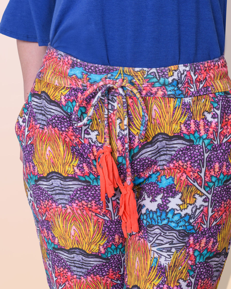 shopvois.com Sustainable Ethical Clothing Fancy Sweat Pants in Coral Reef Print Drawstring