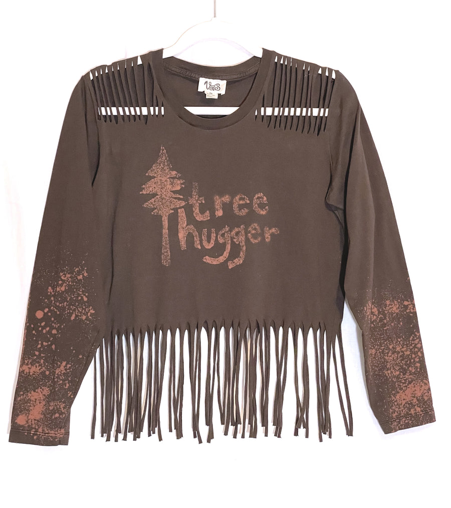 Tree Hugger Long Sleeve Fringe Top