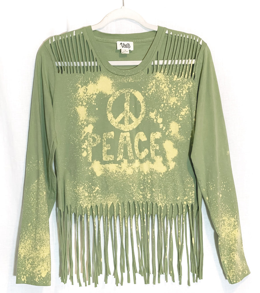 Peace Long Sleeve Fringe Top