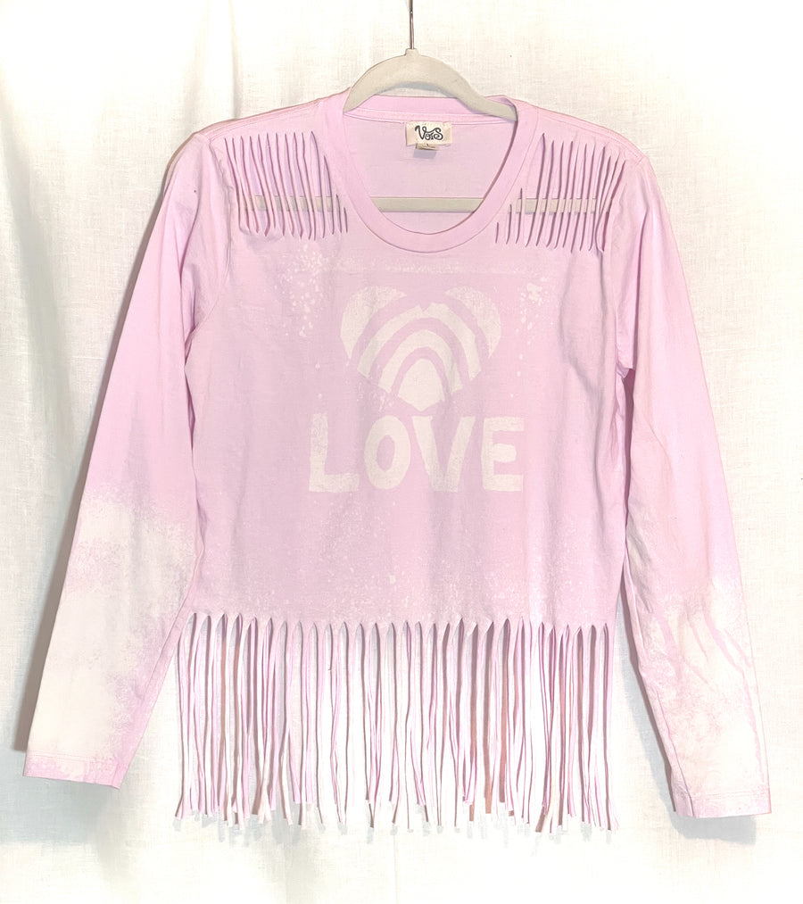 Love Long Sleeve Fringe Top