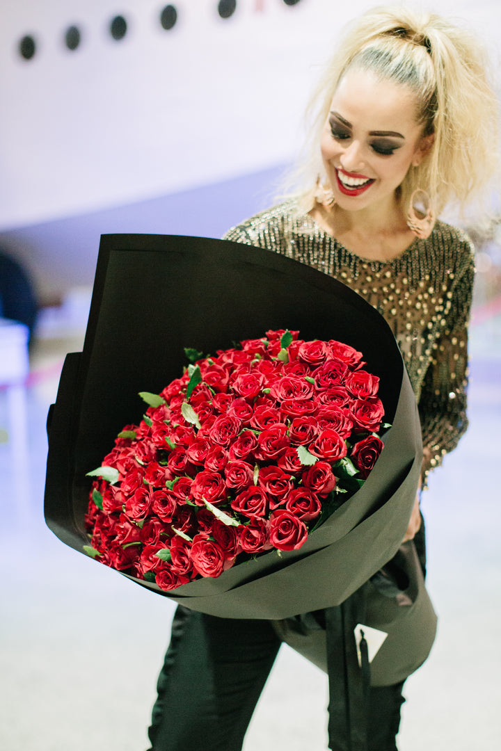 100 Long Stem Red Roses - Tomuri & Co. Floral Designs