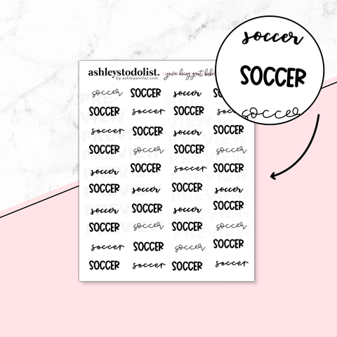 Handlettered Soccer Stickers