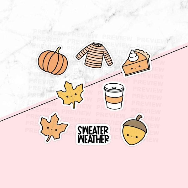 Set of Fall Die Cuts - Sweater Weather