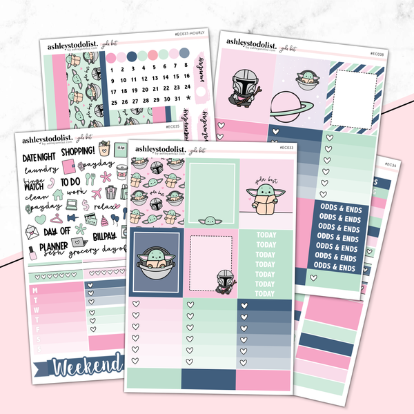 Vertical Weekly Planner Sticker Kit-  [Baby Yoda]