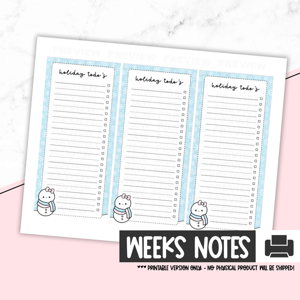Holiday Notes Weeks - Holiday To Do's [Printable]