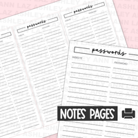 Passwords Tracker Page - Full Page Sticker [Printable]