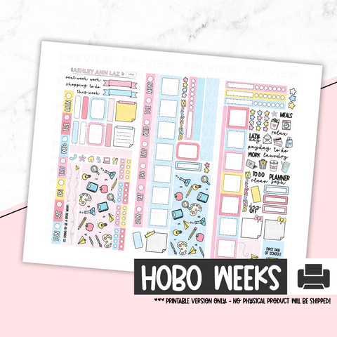 Hobonichi Weeks Printable Kit - Back to School