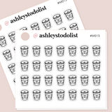 Coffee Cups Mini Functional Stickers
