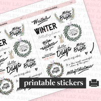 Christmas / Winter / Cozy Quote Stickers