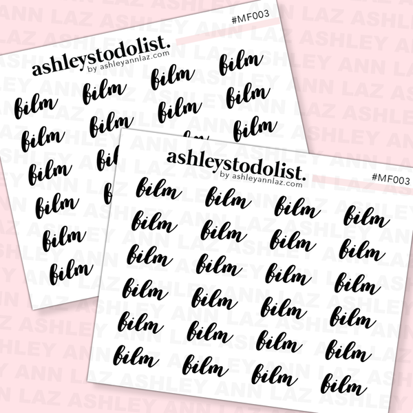 Film Text Mini Functional Stickers