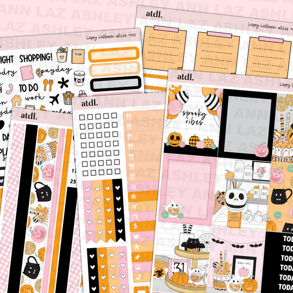 Vertical Weekly Planner Sticker Kit - Basic Witch