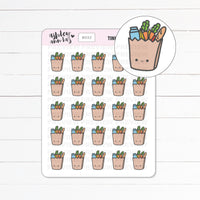 Kawaii Tinies Grocery Bags / Groceries Planner Stickers - Hand drawn doodle stickers