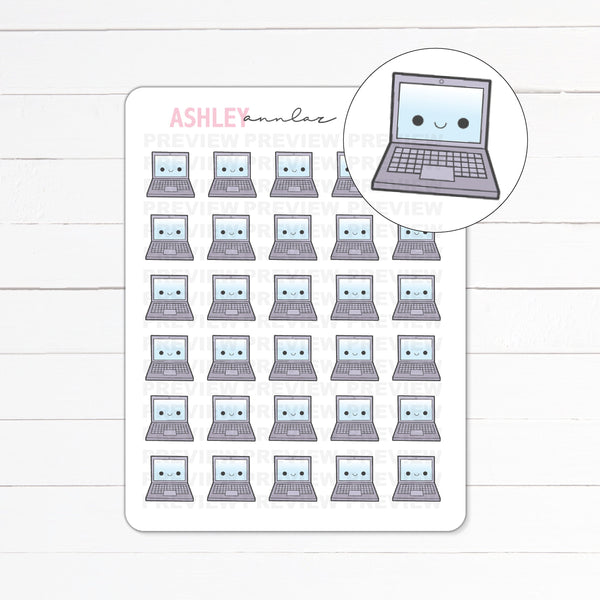 Kawaii Tinies Laptop / Working Planner Stickers - #026