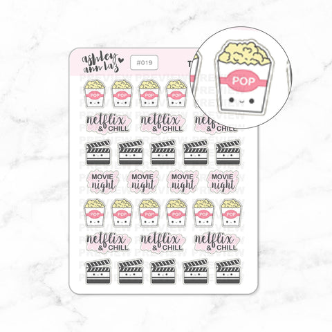 Kawaii Popcorn / Movie Night / Netflix & Chill Planner Stickers
