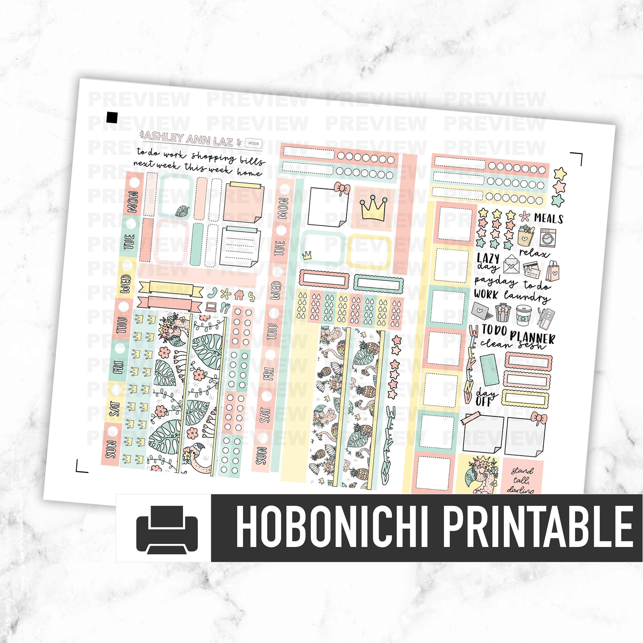 Hobonichi Weeks Kit - Flamingo [Printable]