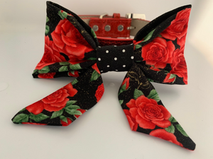 Small/ Medium Black and Red Rose Sailor Bow attached to Collar